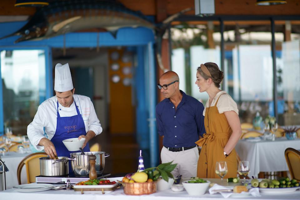 Stanley Tucci and his wife, Felicity Blunt, in Campania