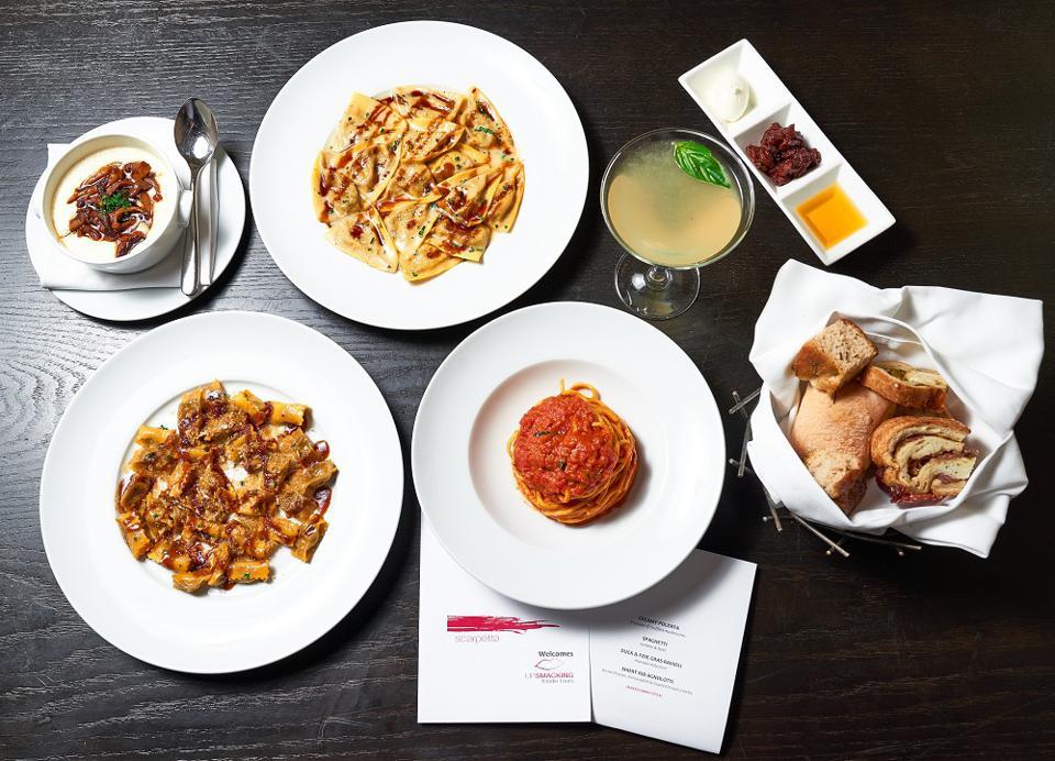 Italian dishes at Scarpetta restaurant in Las Vegas
