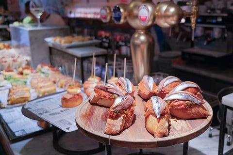 A selection of Basque tapas from the lively pintxos bars in San Sebastián