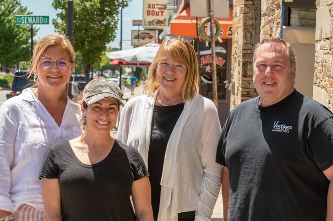 Taste of Shrewsbury Street participants include, from left, Lee Hanson from Leo's Ristorante, Meraki owner Joanna Bachour, McDonald's franchisee Katie Hurley, and Vintage Grille owner Chris Stone.