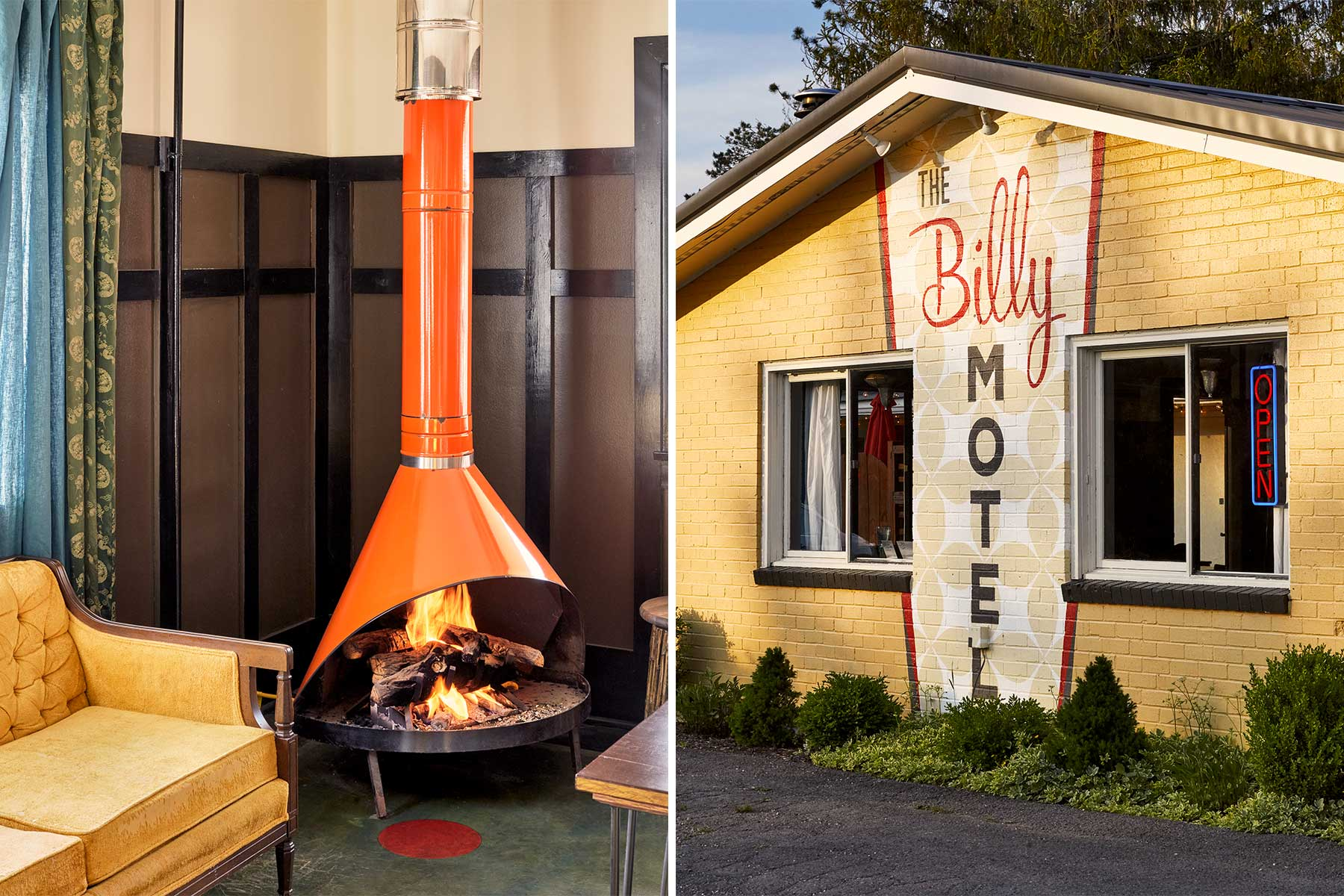 Two photos show the retro decor of The Billy Motel, in West Virginia