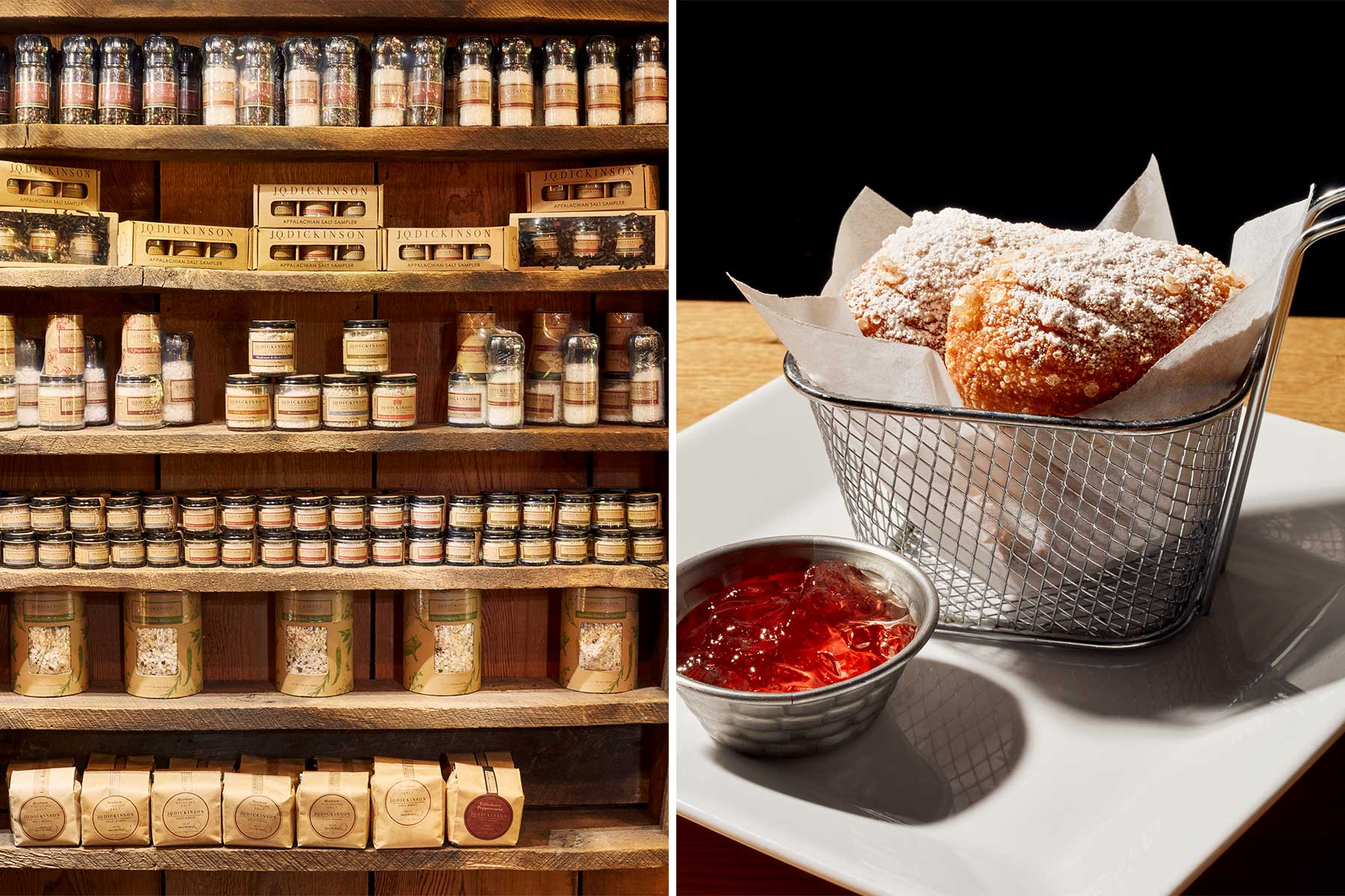 Scenes from Appalachian West Virginia, including detail of salt-based products on a store shelf, and beignets in a wire basket with a side of jelly